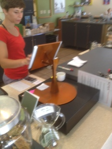 Flipstand being used by a barista at Volta Coffee